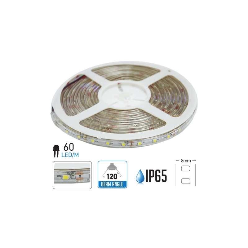 Tira led SMD3528 azul 3.6W/m 60 led/m 12V IP65 5 metros