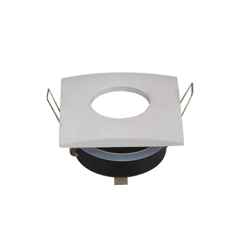 Aro empotrable para bombilla cuadrado fijo IP65. Acabado en blanco