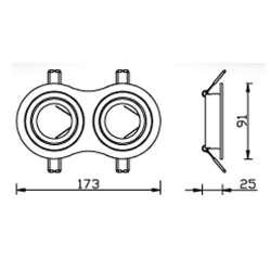 Aro empotrable doble para bombilla led circular basculante cromado-rayado