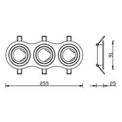 Aro empotrable triple para bombilla led circular basculante cromado-rayado