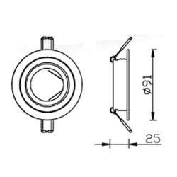 Aro empotrable para bombilla led circular basculante cromado-rayado