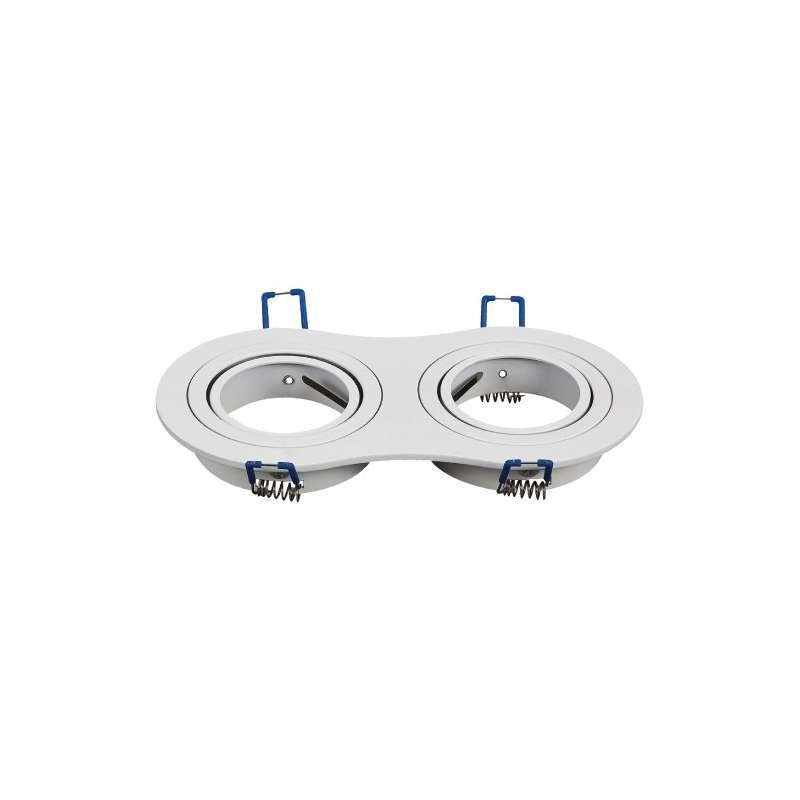 Aro empotrable doble para bombilla circular basculante blanco Aluminio