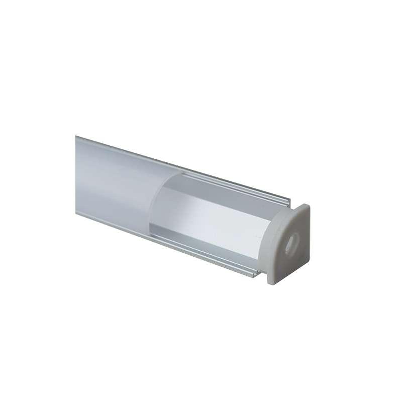 Perfil aluminio tira led esquina 1 metro difusor curvo opal - Tiras de aluminio ...