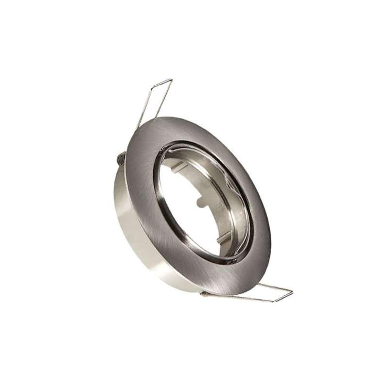 Aro empotrable para bombilla led circular basculante color níquel satinado