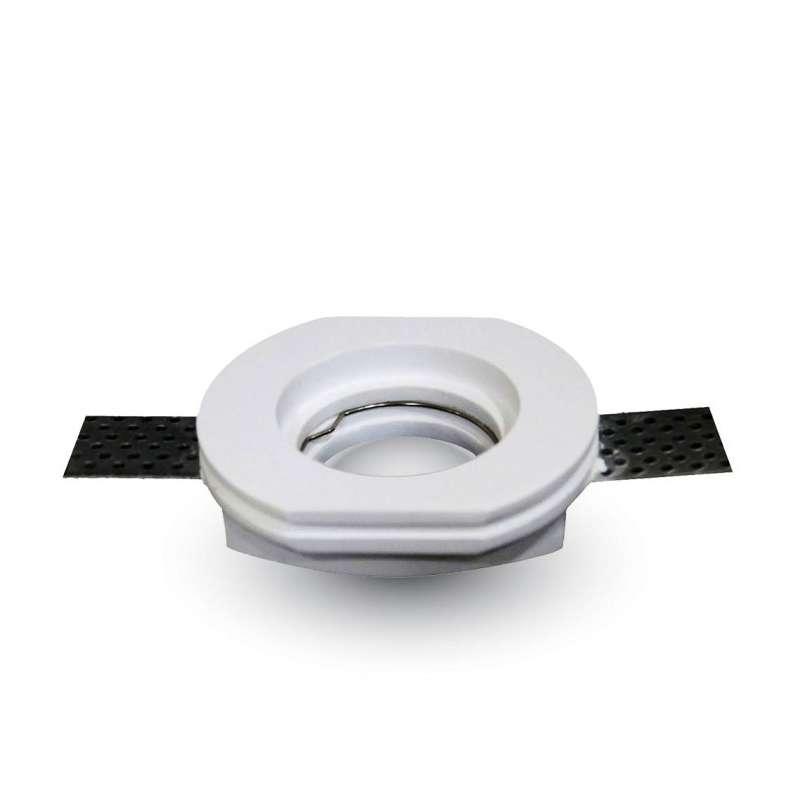 Aro empotrable para bombilla escayola circular recto. Acabado blanco