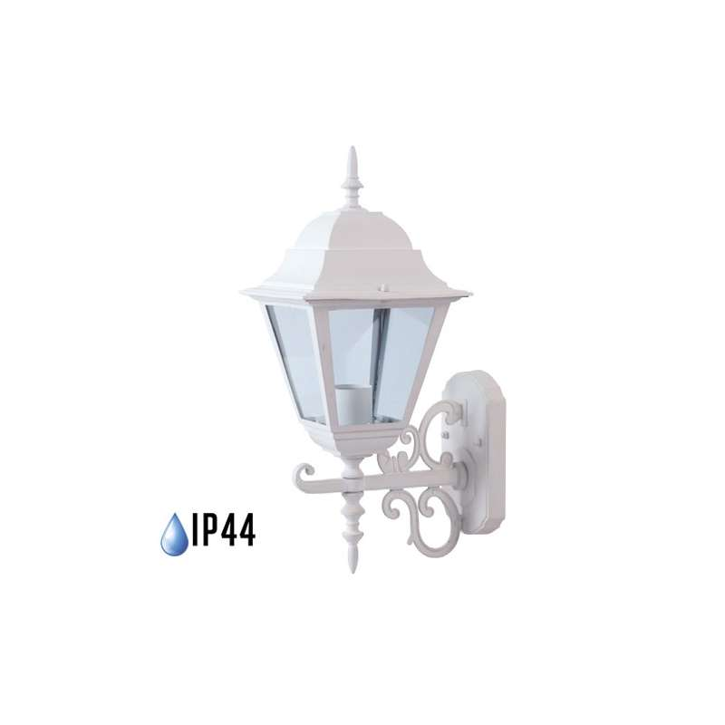 Farolillo de pared Classic Maxi para bombilla LED E27 IP44 Blanco