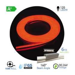 Led Neon Flex Rojo 10W/m 120 leds/m 24V IP67 10 metros