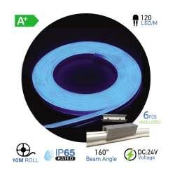 Led Neon Flex Azul10W/m 120 leds/m 24V IP67 10 metros