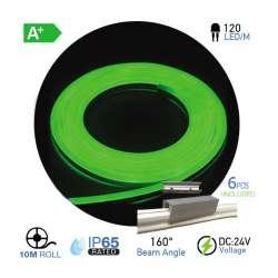 Led Neon Flex Verde 10W/m 120 leds/m 24V IP67 10 metros