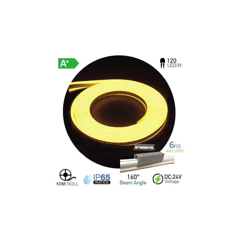 Led Neon Flex Amarillo 10W/m 120 leds/m 24V IP67 10 metros