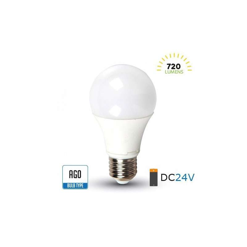 Lámpara led A60 DC24V E27 6400K 9W 200°