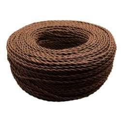 Cable textil trenzado color marrón 2x0.75mm - Bobina 200m.