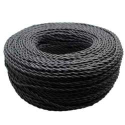 Cable textil trenzado color negro 2x0.75mm -  Bobina 200m.