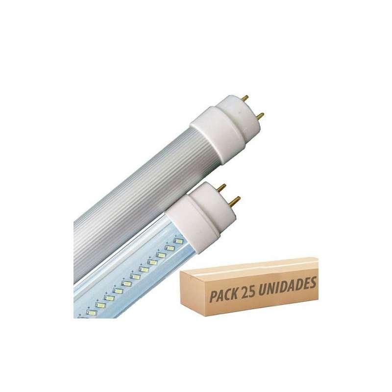 Pack oferta 25 unidades- Tubo led T8 aluminio 6000K 10W SMD 3014 120° 60cm.tapa transparente Rotativo
