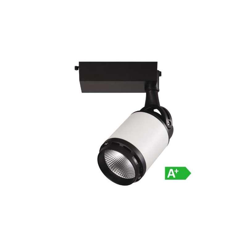 Foco Proyector LED COB Series Infinity para Carril de 4 Núcleos 10W 24° Blanco y Negro