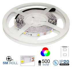 Tira led SMD5050 RGB 4.8W/ IP20 12V  30 leds/mt. 5 metros