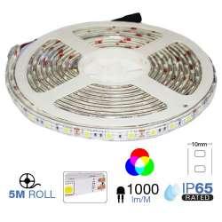 Tira led SMD5050 RGB 9.6W/mt. IP65 12V 60 leds/mt. 5 metros