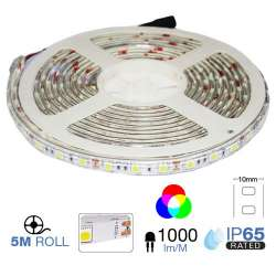 Tira led SMD5050 RGB 9.6W/mt. IP65 12V 60 leds/mt. 5 metros