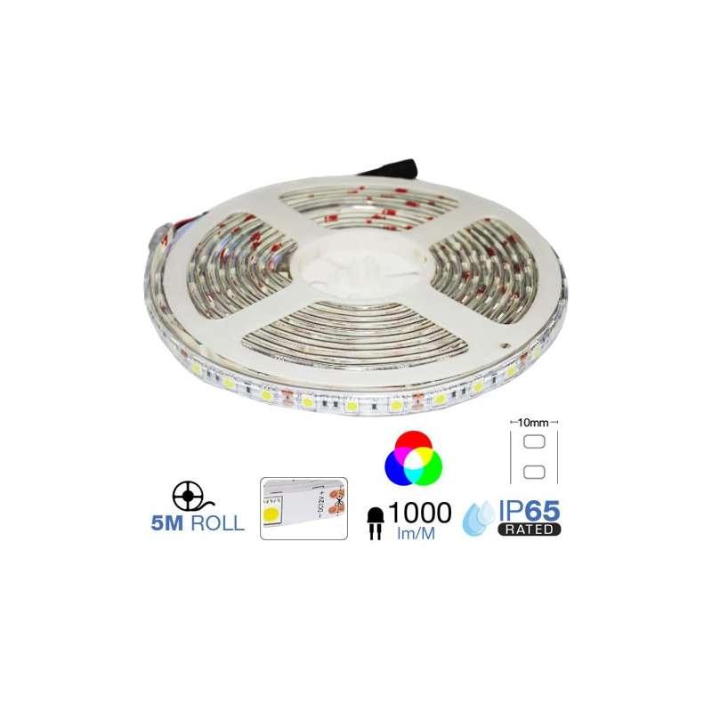 TIRA LED SMD5050 RGB 10.8W/M IP65 12V 60 LEDS/M 5 METROS