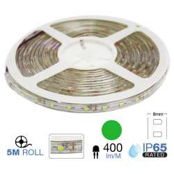 Tira led SMD3528 verde 3.6W/m 60 leds/m 12V IP20 5 metros