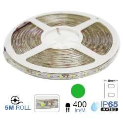 Tira led SMD3528 verde 3.6W/m 60 leds/m 12V IP65 5 metros