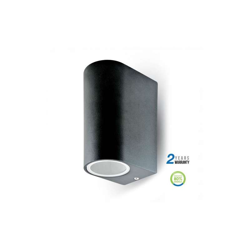 Aplique led de pared serie design curve ip44 negro para 2 bombillas gu10