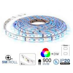 Tira led SMD5050 RGB+4000K 10.8W/m 60 leds/m 12V IP20 5 metros