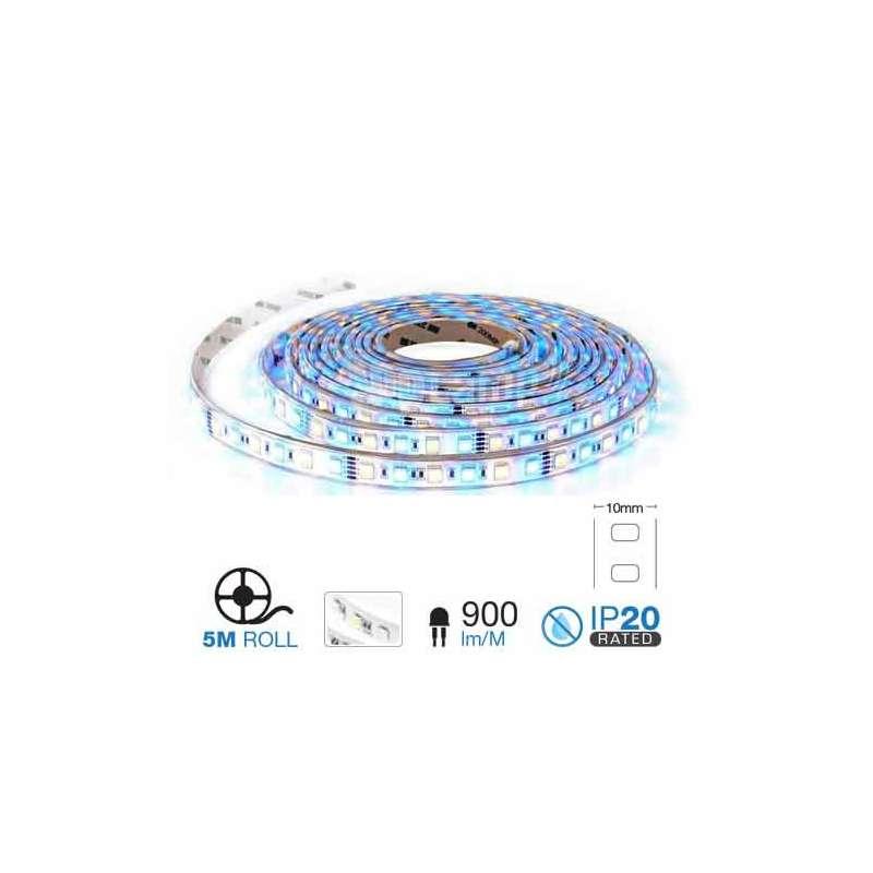 Tira LED SMD 5050 RGB+3000K 10.8W/m 60 leds/m 12V IP20 5 metros