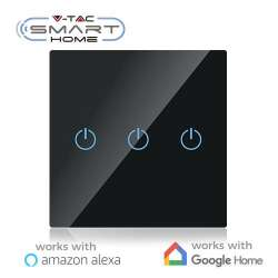 Interruptor táctil 3 salidas V-TAC Smart Home WIFI IP40 Negro compatible con Amazon Alexa y Google Home