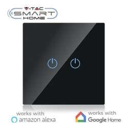 Interruptor táctil 2 salidas V-TAC Smart Home WIFI IP40 Negro compatible con Amazon Alexa y Google Home