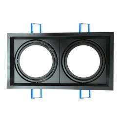 Aro empotrable para bombilla LED AR111 Cuadrado Negro