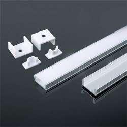 Perfil aluminio tira LED en superficie 2 metros - Difusor plano White cover