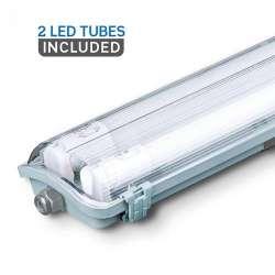 Pantalla estanca LED 2x120cm con tubos incluidos (2x18W) 6400K IP65