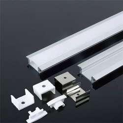 Perfil aluminio Maxi tira LED empotrable 2 m - Difusor plano White cover