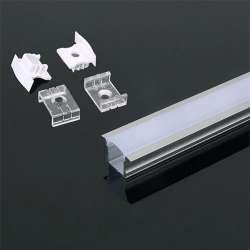 Perfil aluminio Maxi tira LED empotrable 2 m - Difusor curvo Milky cover