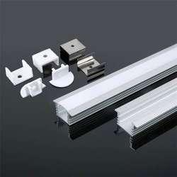 Perfil aluminio tira LED en superficie 2 metros - Difusor curvo Milky cover